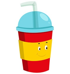 Cold drink in plastic cup vector
