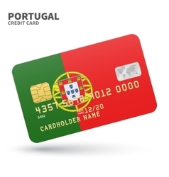 Credit card with portugal flag background for bank vector