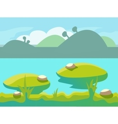 Seamless cartoon nature landscape unending vector