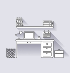 Workplace linear with shadows vector