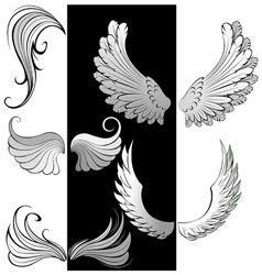 Artistically contoured wings vector