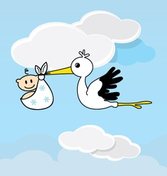 Cute stork carrying a happy baby vector