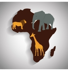 Africa design map shape icon animals vector image