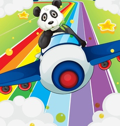 A panda riding in a plane vector image vector image