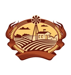 Agriculture landscape icon vector