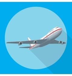 Airplane flying with shadow vector image vector image