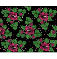 Background pattern from pinck flowers on the black vector image vector image