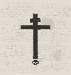 black cross with skull in grunge style vector image vector image