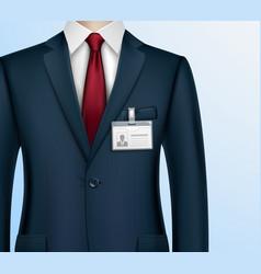 Businessman id badge holder realistic vector