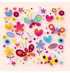 Butterflies hearts flowers vector