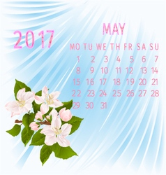 Calendar may 2017 and apple tree branch vector