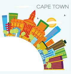 Cape town skyline with color buildings blue sky vector