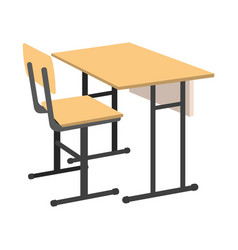 Cartoon school desk icon isolated vector