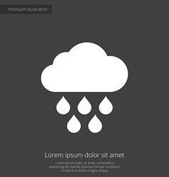 Cloud rain premium icon white on dark background vector