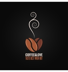Coffee bean logo love concept background vector