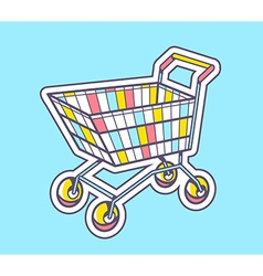 Colorful shopping trolley top view on blu vector