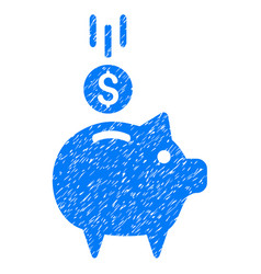 Deposit piggy bank icon grunge watermark vector