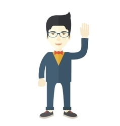 Failure chinese businessman standing waving his vector image