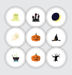 Flat icon halloween set of spirit pumpkin magic vector