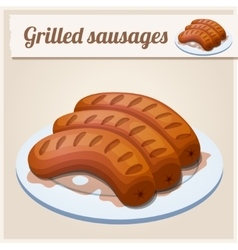 Grilled sausages Detailed Icon vector image vector image