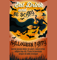 Halloween holiday party trick treat poster vector