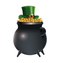 leprechaun hat on pot gold coins background vector image