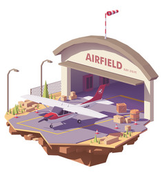 low poly airfield with hangar and airplane vector image