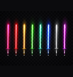 Neon light swords set colorful glowing sabers vector