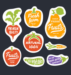 Organic food hand drawn labels set vector