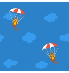 Pattern of monkeys with parachute vector image vector image