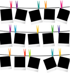 Photo frames on ropes vector
