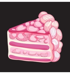 Piece of strawberry cake vector
