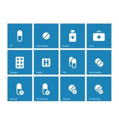 Pills and capsules icons on blue background vector
