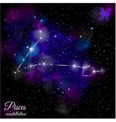 Pisces constellation with triangular background vector