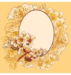 Retro frame with exotic flowers vector image