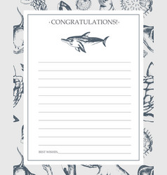 Sea creatures - hand drawn template card vector