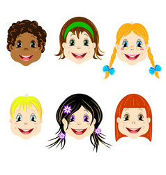 set of children heads with different types vector image vector image