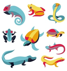 Set of logo design elements - reptiles vector