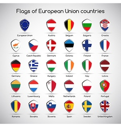 Set the flags of european union countries symbol vector