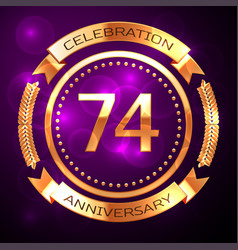 Seventy four years anniversary celebration with vector