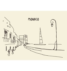 Sketch of streets in monaco drawn vector