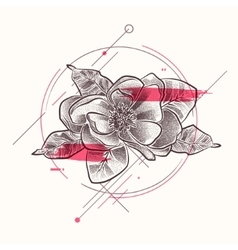 Tattoo flower with floral elements in dotwork vector
