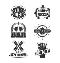 Vintage craft beer logos vector