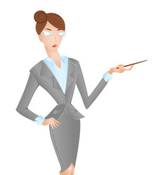 Woman in suit pointing isolated on white vector