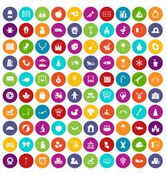 100 nursery school icons set color vector