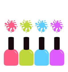 Pink blue violet green nail polish varnish icon vector