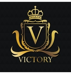 Victory gold emblem design vector