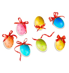 Decorative easter eggsEaster cards with red bow vector image