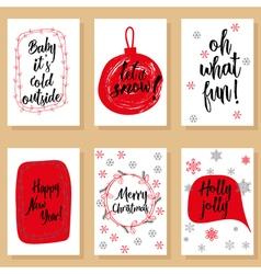Christmas holidays modern calligraphy set Hand vector image