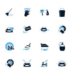 car wash shower service icons set vector image